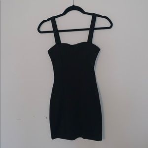 Black Cotton Cocktail Dress with Open Back